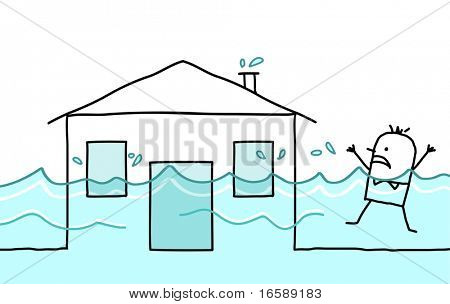 hand drawn cartoon character - man with house & flood