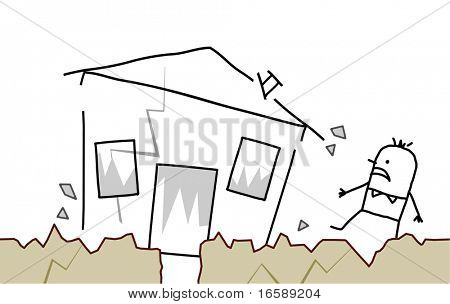 hand drawn cartoon character - man with house & earthquake