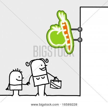 hand drawn cartoon characters - consumer & shop sign - fruits & vegetables