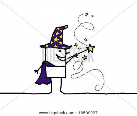 mão desenhada cartoon personagem - varinha mágica & Assistente