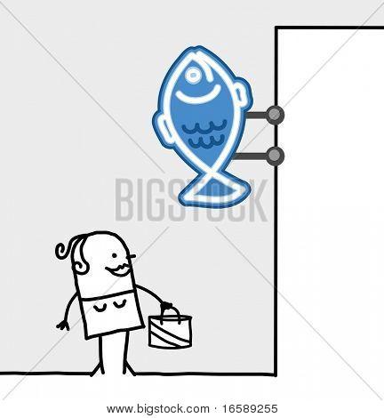 hand drawn cartoon characters - consumer & shop sign - fishmonger