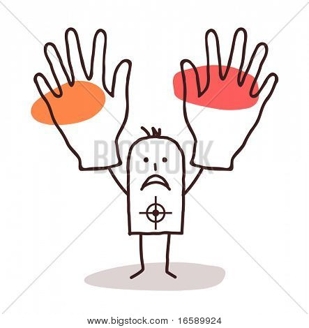 man with target and hands up