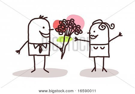 man offering flowers to a woman