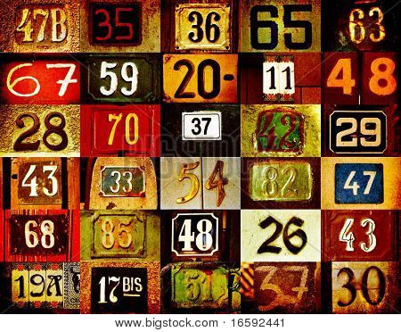 colorful background with different type house numbers