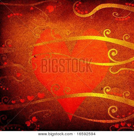 grunge design for valentine day, abstract composition with red hearts and foliage