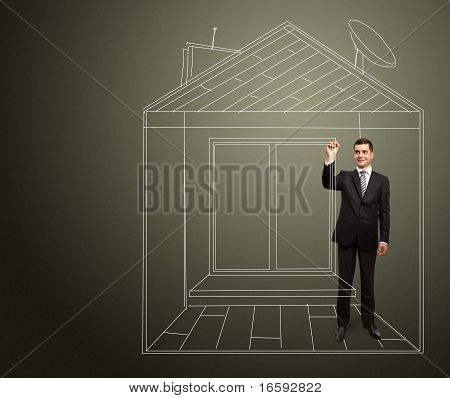 Businessman With Marker In Fictional House