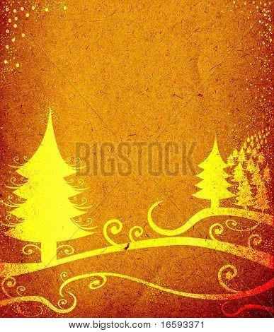 winter landscape on brown old textured paper