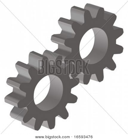 vector illustration of tow gears; 3D view