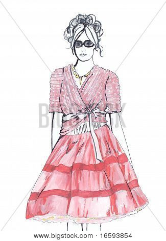 Fashion Sketch. Woman In Pink
