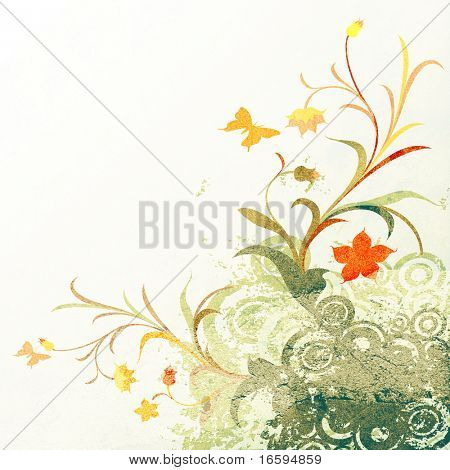 abstract composition, floral grunge design with circles and butterflies