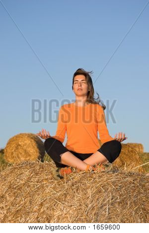 Beautiful Woman Making Yoga