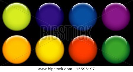 round web buttons with different shiny colors