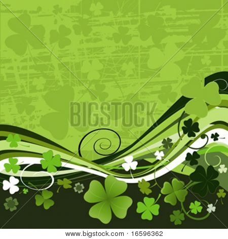 vector design for St. Patrick's Day with four and three leaf clovers