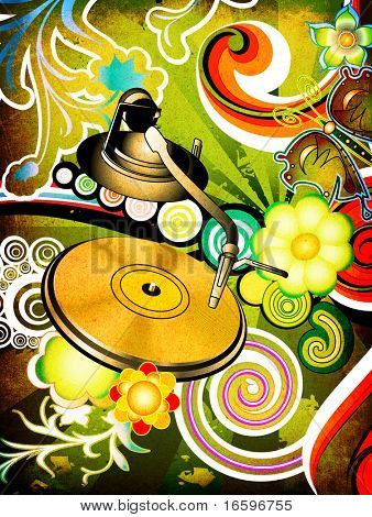 Party design with turntable on floral grunge background