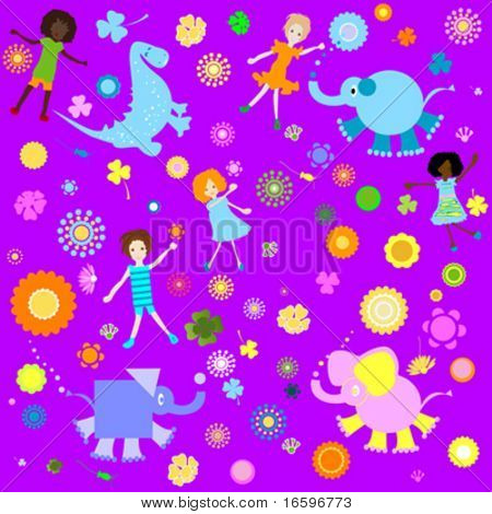 kids background; seamless pattern with children and colorful flowers