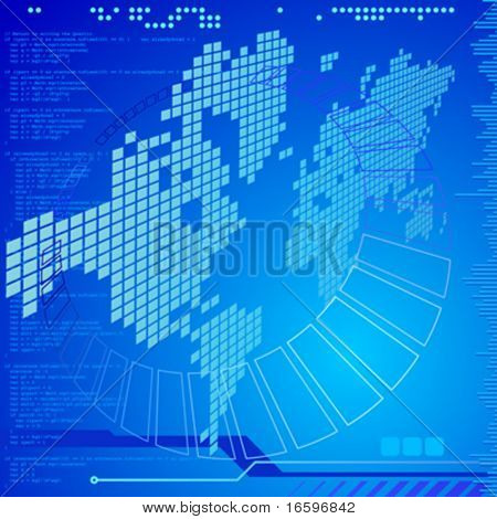 abstract technology background with software code lines and world map