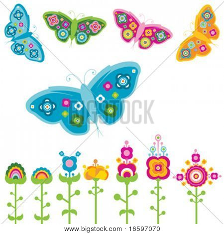 retro elements, flowers and butterflies