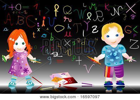 Bildung; Kinder in der Schule schreiben