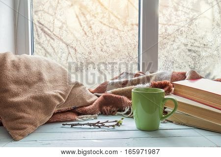 Cup Of Coffee On The Window Sill