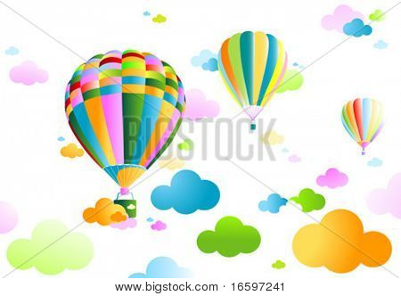 air balloons and cloudy sky