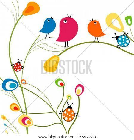 Vögel und Marienkäfer