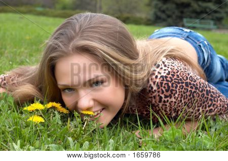 Pretty Girl And Dandelion