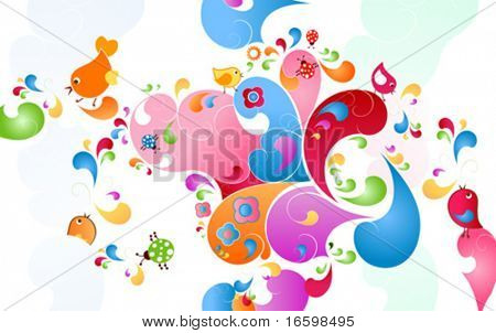 summer color burst, fantasy scene with birds, insects and flowers