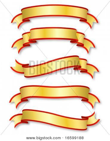 set of five curled golden ribbons, illustration