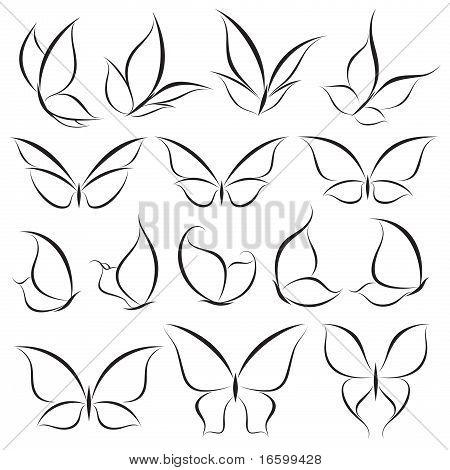 Butterflies. Vector Template Set. Elements For Design. Icon Set.