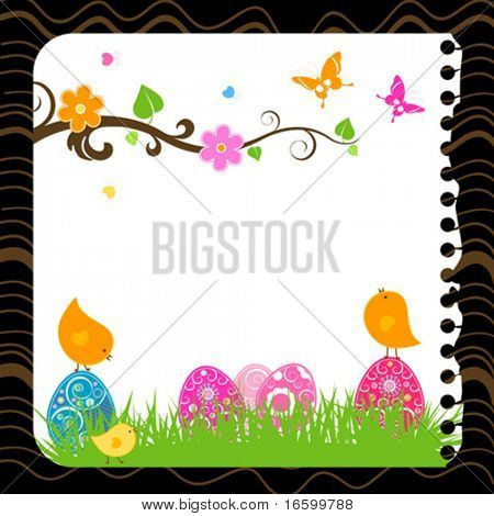 easter card with eggs, birds and butterflies