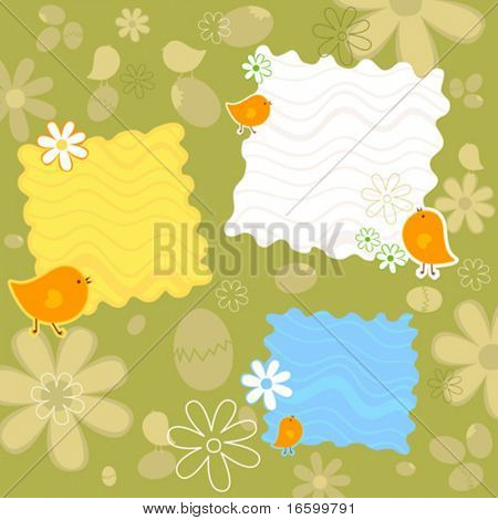 Easter background with chicks and eggs