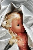 pic of oddities  - Small doll wrapped up in a silver fabric - JPG