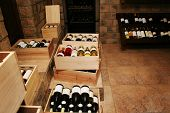 foto of wine cellar  - Bottles with old wine in liquor store - JPG