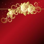stock photo of purple rose  - Red background with golden roses - JPG