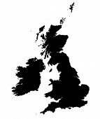 Detailed B/W Map Of United Kingdom poster