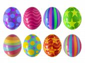 picture of easter-eggs  - Colorful Easter eggs isolated in white background - JPG