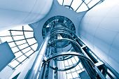 image of elevator  - futuristic elevator in the modern building at shanghai china - JPG
