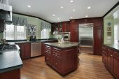 stock photo of firehouse  - Kitchen with wood cabinets - JPG