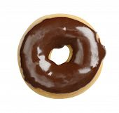 foto of megapixel  - Juicy doughnut with chocolate glacing isolated on white background  - JPG