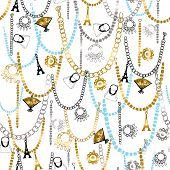 Charms, Necklaces, and Jewelry Seamless Repeat Pattern Vector Illustration