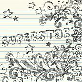 Hand-Drawn Sketchy Doodles and Lettering on Lined Notebook Paper Vector