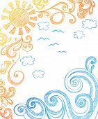 image of summer fun  - Sunny Summer Day and Ocean Waves Hand - JPG