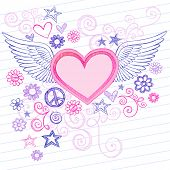 Hand-Drawn Sketchy Heart with Angel Wings Doodles with Stars, Flowers, and Peace Sign on Lined Noteb