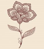 Hand-Drawn Abstract Lace Henna Mehndi Flowers and Paisley Doodle Vector Illustration Design Element