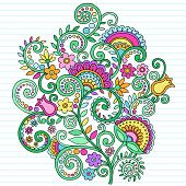 Hand-Drawn Flowers and Vines Psychedelic Groovy Notebook Doodles Design Element on Lined Sketchbook