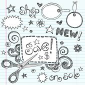 Hand-Drawn Sketchy Notebook Doodles Sale & Shopping Coupon & Apparel Tags Vector Illustration Design