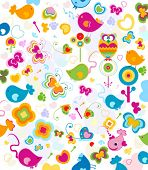 stock photo of dauphin  - animals seamless pattern - JPG