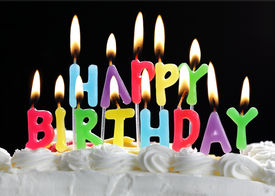 pic of happy birthday  - Colorful happy birthday candles burning on a cake - JPG