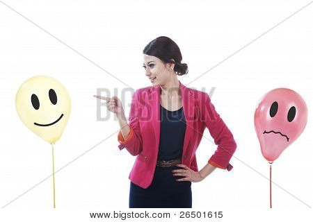 Businesswoman With Happy And Sad Clients