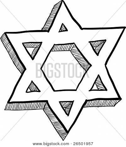 Jewish Star of David sketch